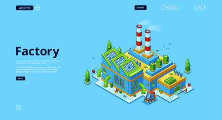 Factory banner. Modern industry building, power station or manufactory. Vector landing page with isometric production plant exterior with chimney pipes, warehouse and forklift