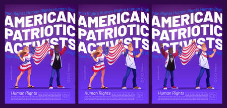 American patriotic activists poster with people holding USA flag. Vector flyers with cartoon illustration of woman and african american man on demonstration for human rights