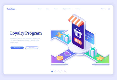 Loyalty program isometric landing page. Service application for online shopping with bonus points, credit card in store smartphone, gift boxes, bag on screen and golden stars, 3d vector web banner 일러스트