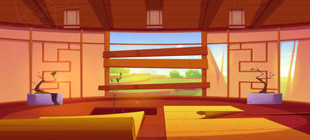 Old dojo, traditional japanese room for karate and meditation. Vector cartoon interior of empty abandoned dojo with broken wall, mats, hole in floor and boarded up window