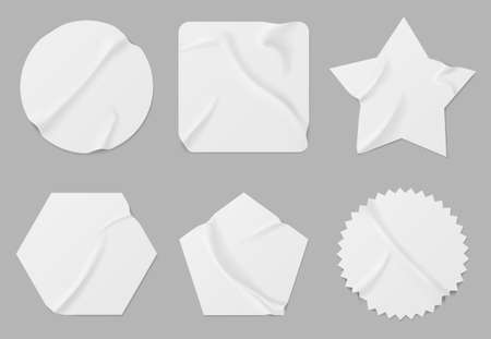 White stickers or patches mockup. Blank shrunken labels of different shapes round, square, star, pentahedron and hexahedron or notched circle wrinkled paper emblems, Realistic 3d vector icons set 일러스트