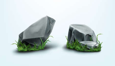 Rocks parts and stones with cracked texture in grass. Vector realistic set of 3d granite boulders on green lawn, gray solid mountain cobbles with smooth surface and plants isolated on background