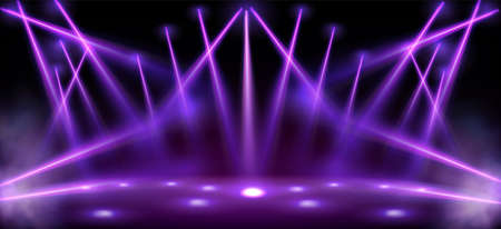 Stage lights, spotlight beams with smoke, glowing studio or theater scene lamp rays on black background. Purple illumination on floor and ceiling for concert or show presentation, Realistic 3d vector 일러스트