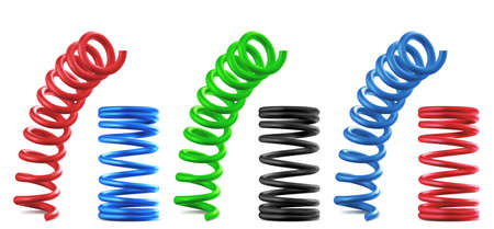 Metal springs, realistic colorful coils isolated set. Flexible spiral parts, bouncing and compressed red, blue, green and black industrial or mechanic garage objects, 3d vector illustration, clip art