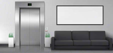 Office or hotel lobby with elevator, sofa and white poster on wall. Empty hallway interior with closed metal lift doors, black couch and blank white billboard. Vector realistic illustration
