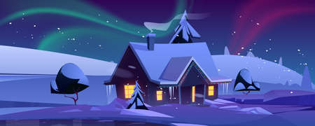 House with christmas decoration at night. Winter landscape with snow, cottage and aurora borealis in sky. Vector cartoon illustration with northern lights, snowy hills and house
