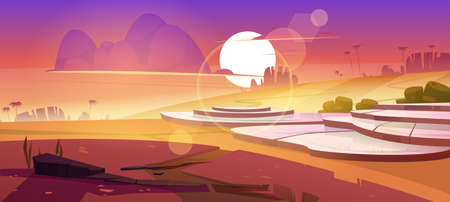 Asian rice field terraces in mountains sunset landscape. Paddy plantation, cascades farm in mount rocks with sun go down in beautiful orange cloudy sky, scenery dusk view, Cartoon vector illustration