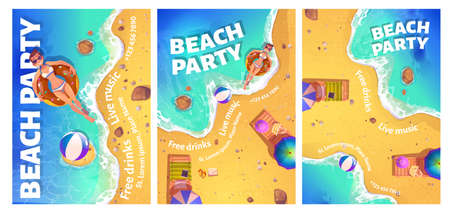 Beach party cartoon flyer with woman floating in ocean on inflatable ring top view. Invitation card or poster for summe rtime vacation entertainment with free drinks and live music vector illustration 일러스트