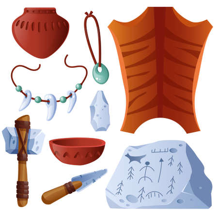 Prehistoric objects set animal skin, clay pot and bowl, amulets with teeth, weapon ax or knife and rock with petroglyphs. Stone ages tools isolated on white background, Cartoon vector icons set