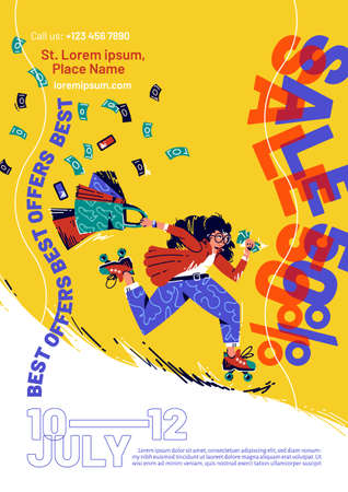 Sale flyer with hurry woman on roller skates with shopping bags and money. Vector poster of special offer with flat illustration of girl run on roller to shop, store or supermarket with money Vecteurs