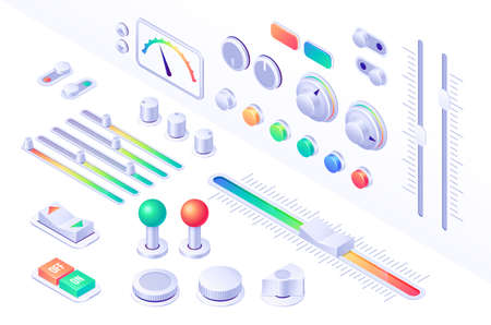 Isometric buttons, control panel interface elements for music player, dj mixer, game or mobile application. Switch on and off, joystick, equalizer, volume UI recorder app audio digital 3d vector set