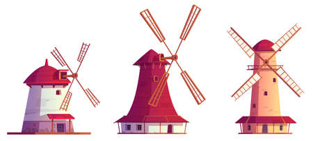 Cartoon windmills antique buildings. Traditional wind mills for flour grinding, rural structure with vanes propeller. Millstones for grain or bread processing. vintage architecture Vector illustration