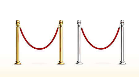 Red rope barrier with gold and silver stanchions. Velvet fence for entrance to cinema, club, theater and vip hall. Vector realistic set of 3d luxury barrier with golden posts for gallery and museum Ilustração Vetorial