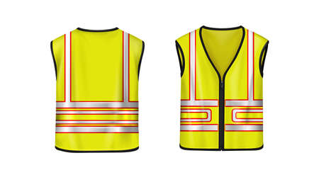 Safety vest front and back view, yellow sleeveless jacket with reflective stripes for road works, waistcoat mockup with fluorescent protective design elements Realistic 3d vector illustration, mock up