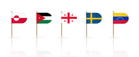 Toothpick flags of Greenland, Jordan and Georgia with Sweden and Venezuela. National banners on wooden pointed sticks. Oval edge pennants isolated on white background, Realistic 3d vector icons set
