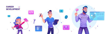 Career development in design from kid to designer and leader. Education, work progress and professional boost in creative job. Vector cartoon illustration of boy and man with graphic tablet Vetores