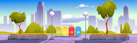 City park with recycling bins for sorting waste, garbage separation to protect environment. Summer landscape, cityscape background, public place with trees for recreation. Cartoon vector illustration