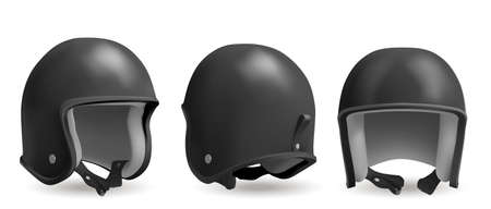 Retro motorcycle helmet in front, back and angle view. Head protection equipment for bike and motorbike race. Vector realistic 3d vintage black biker helmet isolated on white background