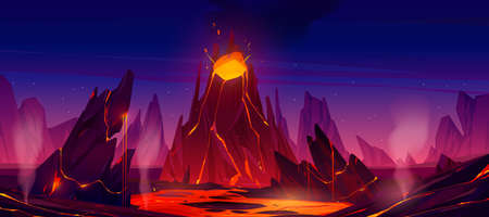 Volcano eruption with steaming magma flow down from volcanic mouth. Nature disaster, apocalypse background with glowing hot liquid drain from rock under starry sky, Cartoon Vector illustration Ilustración de vector
