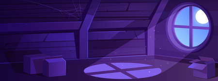 House attic interior at night, empty old mansard illuminated with moon light falling through round window. Spacious room with carton boxes and spider web on roof beams, Cartoon vector illustration