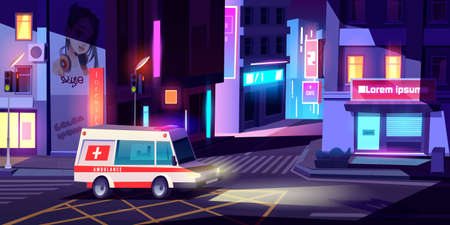 Ambulance in night city, medic car with signaling riding empty metropolis street with buildings, glowing neon signboards and traffic lights. Emergency medicine service, Cartoon vector illustration
