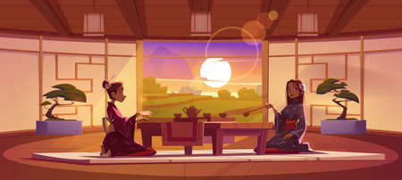 Tea ceremony in dojo room, women in traditional kimono sit at served low table on floor mat admire peaceful paddy dusk landscape in Japanese interior with authentic decor, Cartoon vector illustration