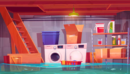 Flooded laundry in basement, water leakage in home cellar interior with washing and dryer machines, detergents on shelves, basket with dirty linen and carton boxes, flood, Cartoon vector illustration