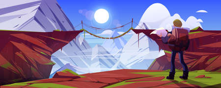 Mountain landscape with hiker man and suspension bridge over precipice in rocks. Vector cartoon illustration of abyss between cliffs, wooden rope bridge and tourist with backpack and map