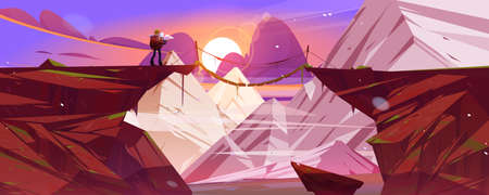 Mountain landscape at sunset with hiker man and suspension bridge over precipice between cliffs. Vector cartoon illustration of snow rocks, wooden rope bridge over abyss and tourist with backpack