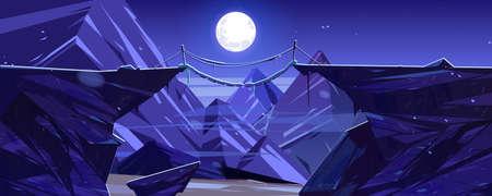 Suspended mountain bridge above night cliff, rock peaks and full moon scenery landscape. Beautiful nature view, rope bridgework connect steep rocky edges under moonlight, Cartoon vector illustration Vector Illustratie