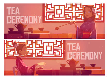 Tea ceremony cartoon banner, invitation in asian restaurant, woman wear traditional kimono in Chinese or Japanese cafe sit at served low table on floor, authentic cafeteria vector web header