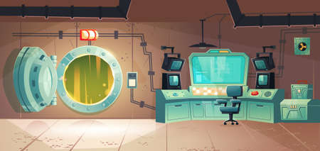 Underground bunker, scientific laboratory for secret project research. Headquarters base control room or command post with open vault door, information screen, red button Cartoon vector illustration