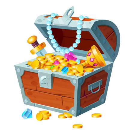 Chest with gold coins, gemstones, crystals and trophy. Pirate treasure in open wooden forged box isolated on white background. Fantasy game asset, mobile application ui element, Cartoon illustration Ilustração Vetorial