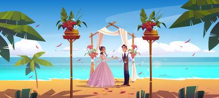 Beach wedding, bride and groom newlywed couple
