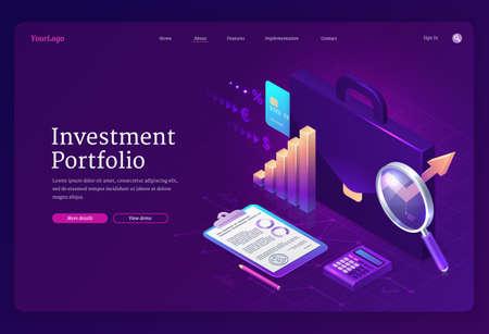 Investment portfolio isometric landing page banner Vetores