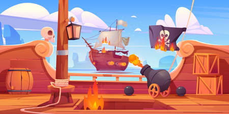 Pirate ship battle, wooden brigantine boat deck onboard view with cannon fire to enemy frigate, burning jolly roger flag, flame ragging in open hold on seascape background, Cartoon vector illustration