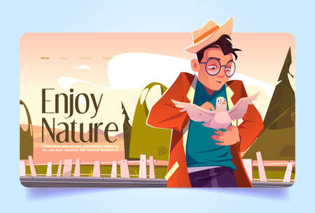 Enjoy nature banner with man caress white dove. Vector landing page with cartoon illustration of character in hat and glasses holding pigeon on hand in countryside
