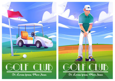 Golf club posters with illustration of green course, cart and player. Vector cartoon flyers with cartoon golfer man with putter, car, white ball and hole in ground with red flag on grass Vektorové ilustrace