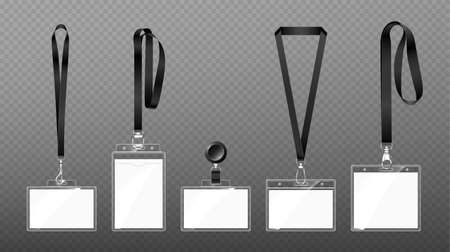 Badges on lanyards with lobster clasp or hooks, blank id cards in transparent plastic cases hang on ribbons, identity tags template on belt or lace. Swivel snap clips, isolated 3d Vector mockup set
