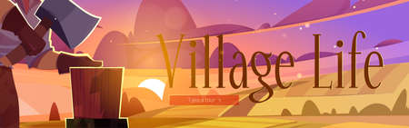 Village life cartoon web banner, man villager with axe chop firewood on rural countryside dusk landscape background with scenery field and pink sky. Lumberjack cutting wood logs, vector illustration Vecteurs
