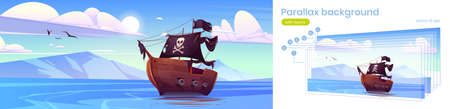 Parallax background for game, pirate ship in sea, filibusters battleship with black sails, flag and jolly roger floating on ocean water surface with mountains and blue sky, Cartoon vector illustration