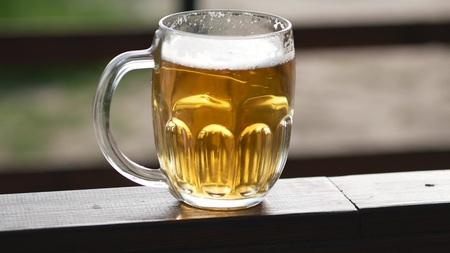 Close up shot of a mug of beer
