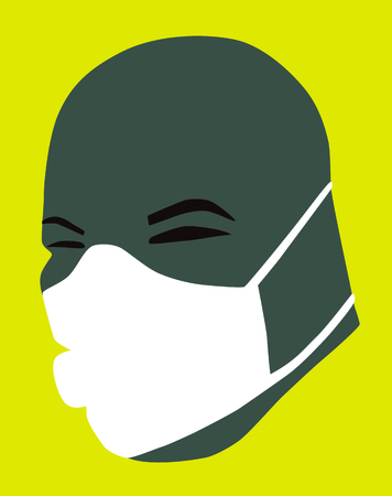 Air pollution concept. Hairless man with respiratory mask on yellow background