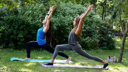 Young beautiful women practice warrior 1 yoga pose in a park. Sunlight on a background
