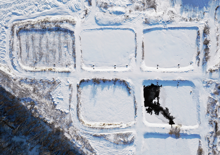 Birds eye view of an aeration fields in winter
