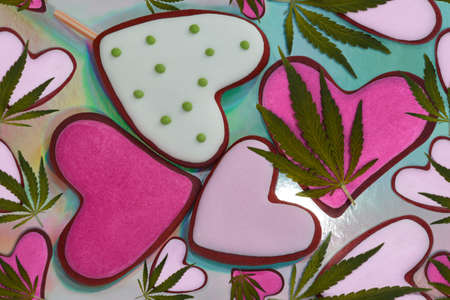 Seamless pattern cookies and hemp leaves. Medical marijuana leaves and pink hearts. Heart shaped gingerbread cookies lie on a colorful background. Gingerbread and hemp leaves. love and marijuana.