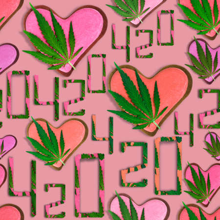 420 symbol with hemp leaf and heart.Marijuana. Seamless pattern with hemp leaf, heart and 420 on a pastel background.