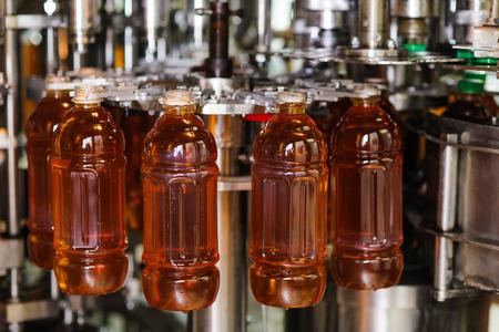 bottling: process of bottling on a production line
