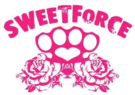 Pink sweetforce template with rose and heart design Иллюстрация