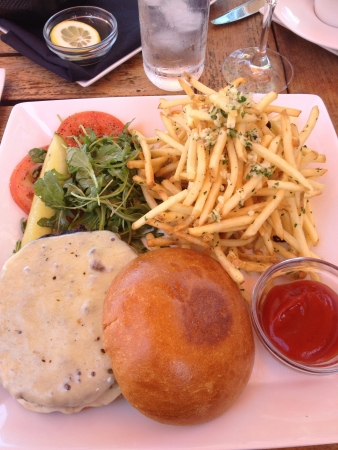 Delicious Kobe burger with skinny fries